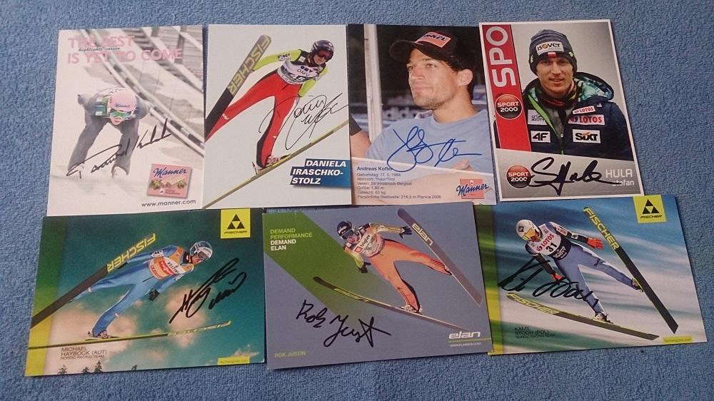 Skoczkowie narciarscy - wymiana autografów